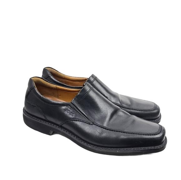 Ecco Leather Black Slip On Loafers Men's 46